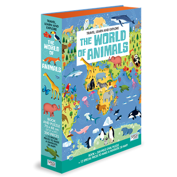 Слика на The World of Animals - Book and Shaped Puzzle (Travel, Learn and Explore)