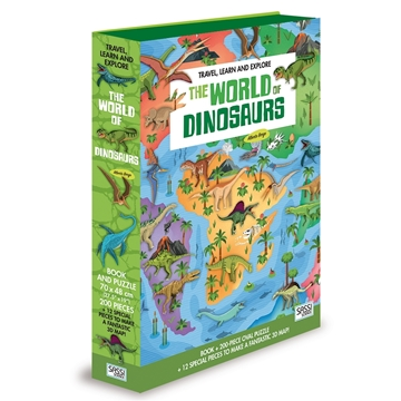 Слика на The World of Dinosaurs - Book and Shaped Puzzle (Travel, Learn and Explore)