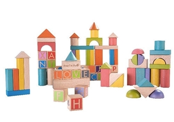 Слика на Дрвени блокови за учење форми, букви и бои