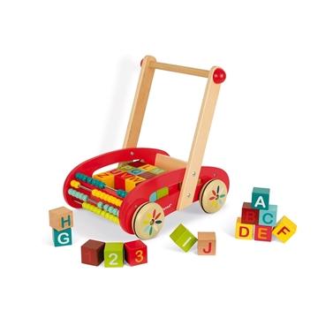 Слика на Количка со дрвени коцки со букви и сметало