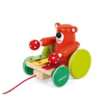 Слика на Играчка за влечење - Мече со ксилофон