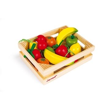 Слика на 12 овошја од дрво во гајбичка - Janod