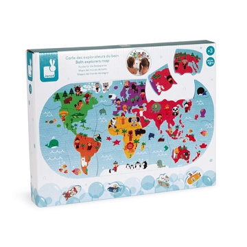 Слика на Сложувалка за во бања - Мапа на светот - Janod